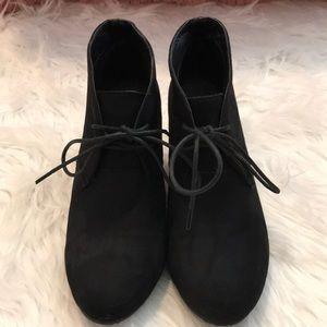 Bella Marie suede black booties size 7.5